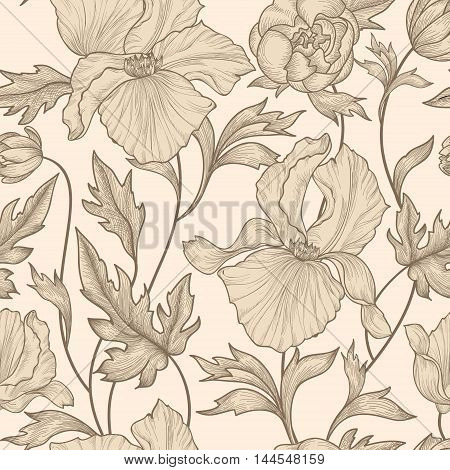Floral Seamless Pattern. Flower Background. Floral Ornamental Engraving With Iris Flowers. Spring Fl