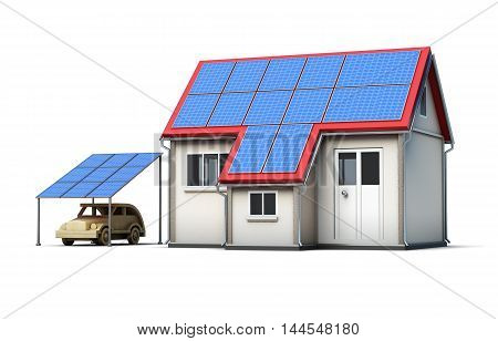Eco Concept House Isolated On White Background. 3D Render Image