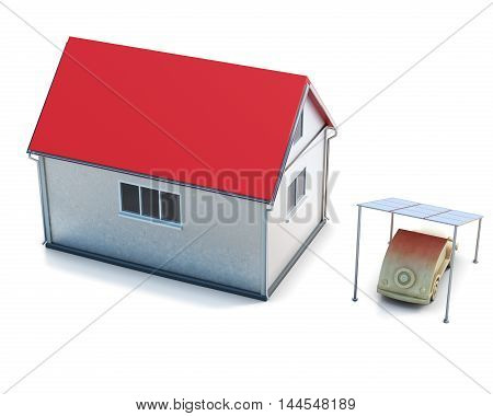 Eco Concept House Top View On White Background.  3D Render Image