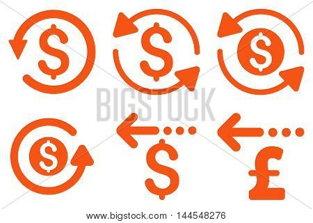 Refund vector icons. Pictogram style is orange flat icons with rounded angles on a white background.