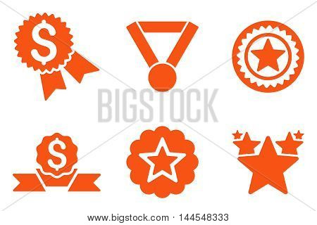 Reward vector icons. Pictogram style is orange flat icons with rounded angles on a white background.