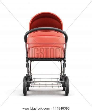 Frontal View Of A Baby Stroller. 3D Rendering.