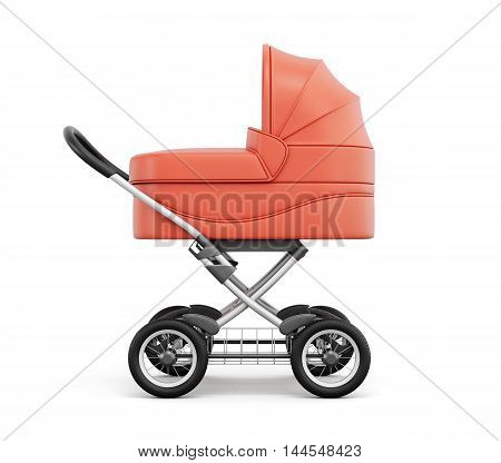 Side View Of Baby Stroller. For Boy. 3D Rendering.