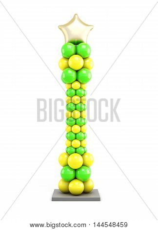 Column Of Colored Balloons. 3D Illustration.