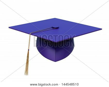 Square Academic Cap Isolated On A White Background. 3D Rendering