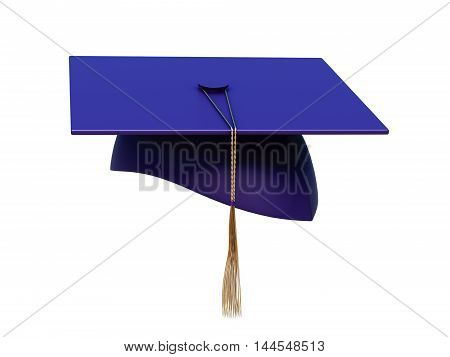 Square Academic Cap With Tassel Isolated On A White Background. 3D Rendering