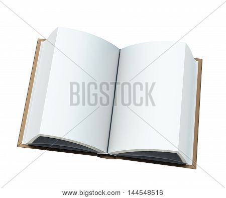 Blank Open Book Isolated On White Background. 3D Rendering
