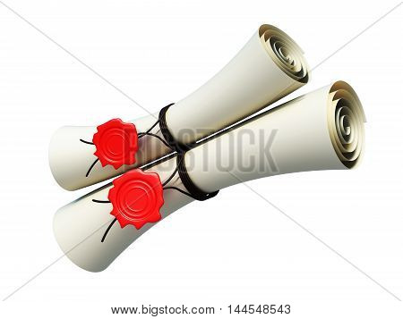 Two Scrolls Sealed With The Seal Isolated On White Background. 3D Render Image
