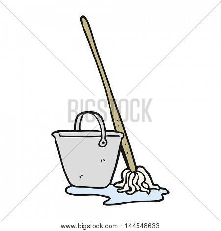 freehand drawn cartoon mop and bucket