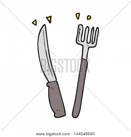 freehand drawn cartoon knife and fork