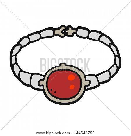 freehand drawn cartoon ruby bracelet
