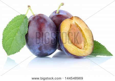 Plums Plum Prunes Prune Slice Organic Fruits Fruit Isolated On White