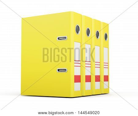 Office Folders Standing In A Row. Yellow Ring Binders. 3D Render Image