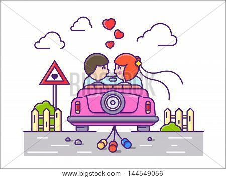 Love concept flat. Newlyweds kissing in car with cans. Vector illustration