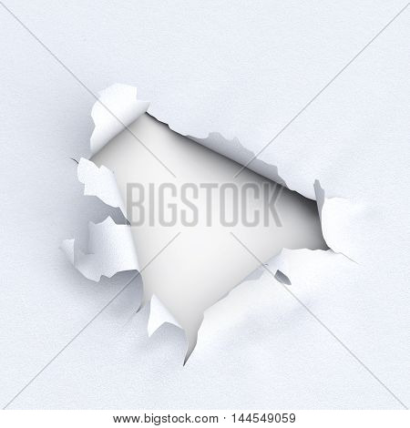 Hole In Paper On White Background. 3D Illustration.