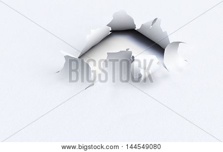 Torn Hole In The Kraft Paper On A White Background. 3D Illustration.