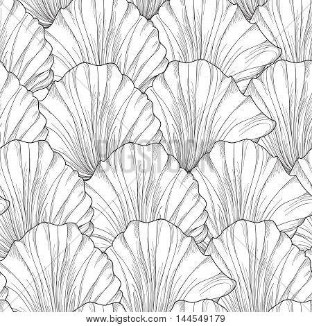 Floral Seamless Pattern Of Engraved Flower Petals. Flourish Tiled Gentle Background