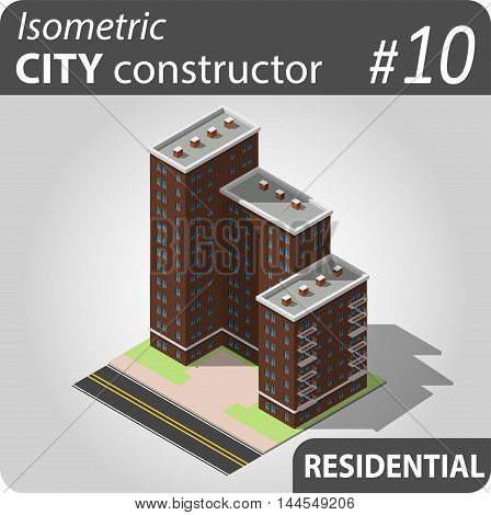 Isometric residential building. Illustration of urban and rural houses and dwellings. For your infographic, city, map or business design. Detailed vector clip art with easy editable colors.