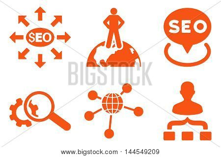 Seo Marketing vector icons. Pictogram style is orange flat icons with rounded angles on a white background.