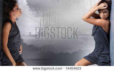 Fashion shoot of sexy lady over abstract under water background