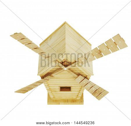 Wooden Windmill Isolated On White Background. 3D Render Image