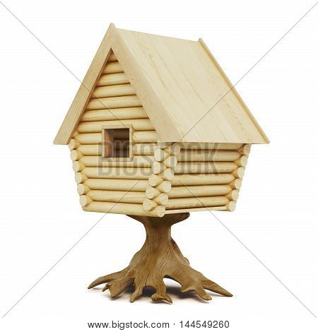 Wooden Fairy House On A Stump Isolated On A White Background. 3D Rendering