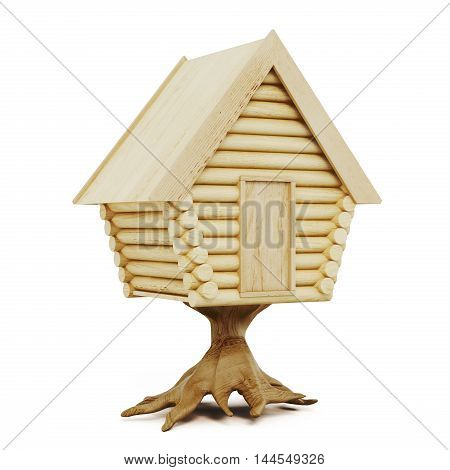 Wooden Fairy House Isolated On A White Background. 3D Rendering