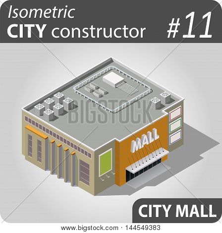 Isometric store ore mall building. Illustration of urban and rural houses and dwellings. For your infographic, map or business design. Detailed vector clip art with easy editable colors.