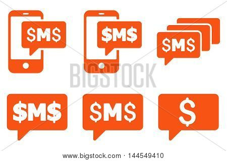 SMS Messages vector icons. Pictogram style is orange flat icons with rounded angles on a white background.