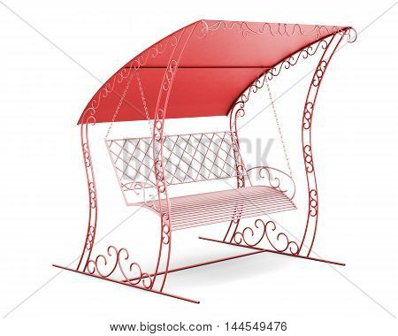 Garden Swing With Canopy Isolated On White Background. 3D Illustration