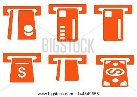 Ticket Terminal vector icons. Pictogram style is orange flat icons with rounded angles on a white background.