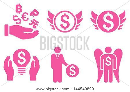 Angel Investor vector icons. Pictogram style is pink flat icons with rounded angles on a white background.