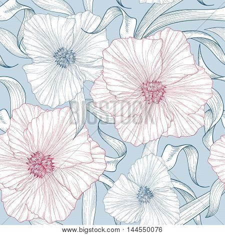 Floral Seamless Pattern. Flower Background. Floral Tile Ornamental Texture With Flowers. Spring Flou