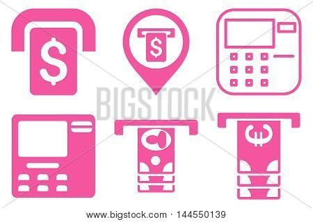 ATM Terminal vector icons. Pictogram style is pink flat icons with rounded angles on a white background.