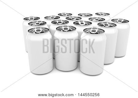 White Aluminum Beverage Cans Isolated On A White Background 3d illustration