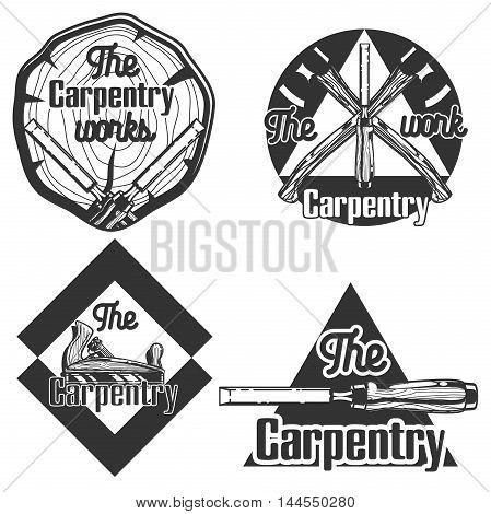 Set of vintage carpentry emblems. Vector illustration, EPS 10