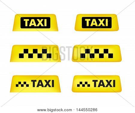 Taxi Car Roof Sign. Icon Set. Vector