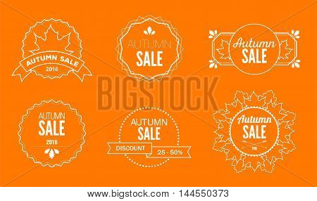 Set of vintage logos and emblems for autumn sales with text and leaves