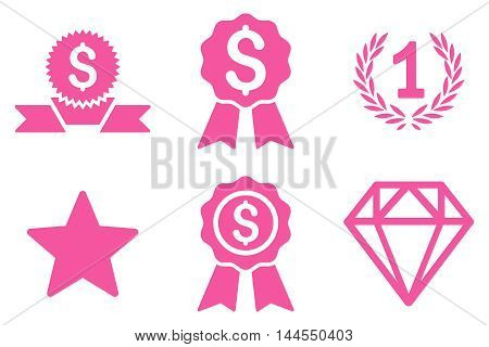 Award vector icons. Pictogram style is pink flat icons with rounded angles on a white background.
