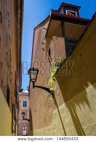 Narrow Pedestrian passage between buildings in Sibiu in Romania