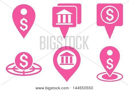 Bank Location vector icons. Pictogram style is pink flat icons with rounded angles on a white background.