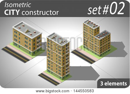 Set of isometric residential buildings. Illustration of urban and rural houses and dwellings. For your infographic, map, city or business design. Detailed vector clip art with easy editable colors.