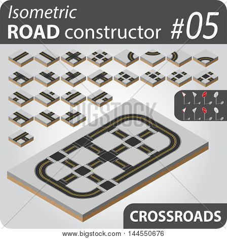 Isometric vector constructor with buildings, roads and other objects. Easy editable colors. Kit to create your 3D city or street map. For your infographic or business design. High quality.