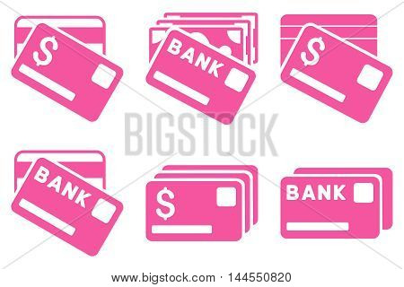 Banking Cards vector icons. Pictogram style is pink flat icons with rounded angles on a white background.
