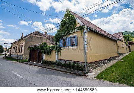 typical house facade in Saxon Sibiel village in Romania