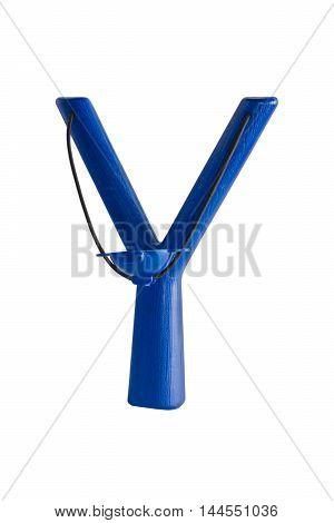 Plastic children's slingshot isolated on white background, color blue