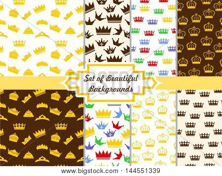 beautiful set of seamless backgrounds with crowns in the style of a flat design.
