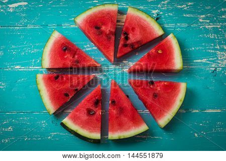 Watermelon Slice Popsicles On A Blue Rustic Wood Background, Popular Summer Fruit With Yummy Waterme
