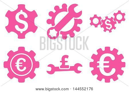Financial Settings vector icons. Pictogram style is pink flat icons with rounded angles on a white background.