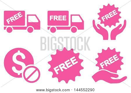 Free of Charge vector icons. Pictogram style is pink flat icons with rounded angles on a white background.